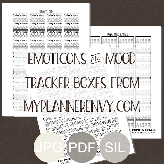 Free Printable Emoticons and Mood Tracker Boxes from myplannerenvy.com