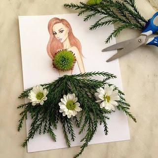 رسمة للفنان إيدجر باستخدام الزهور