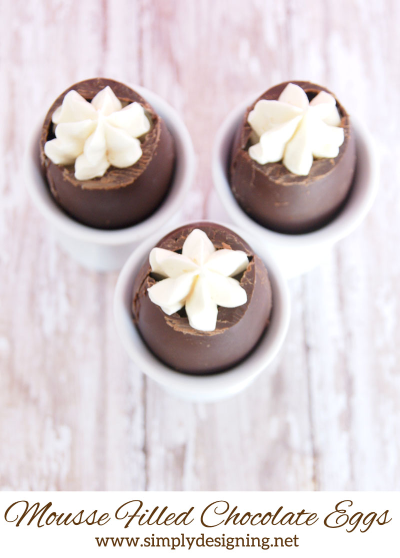 Mousse Filled Chocolate Easter Eggs | a perfect ending to an Easter or Spring Meal!  This mousse filled hallow chocolate egg is a fun and simple treat that can be prepared days in advance and is sure to wow any crowd!!  | #easter #easterrecipe #recipe