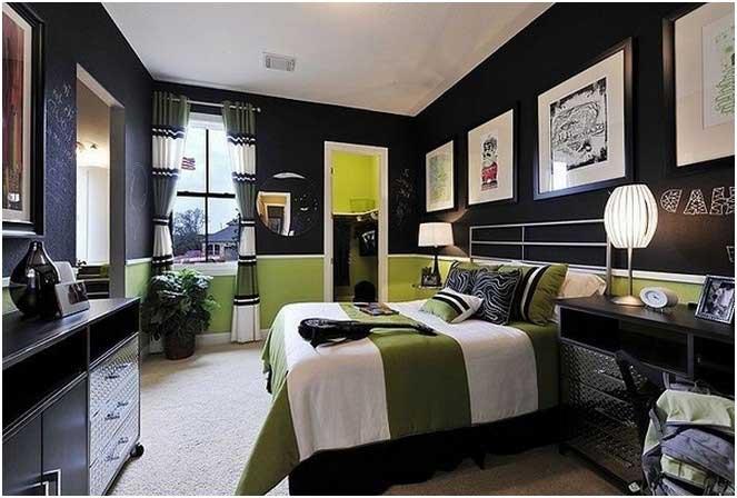 Jugendzimmer Jungs Schlafzimmer Ideen Schwarz Grün Farben Tafel