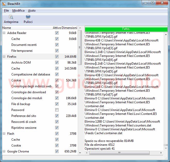 BleachBit interfaccia grafica