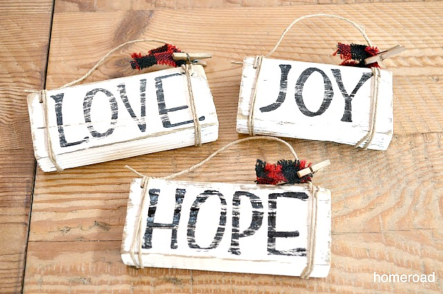 Rustic Distressed driftwood ornament DIY