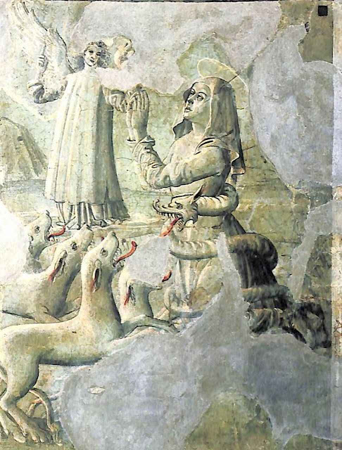 Sete demônios lhe aparecem sob a forma de ovelhas elogiando suas virtudes, mas ela zombou deles. Então se transformaram em lobos que tentavam devorá-la (Mosteiro de Tor de Specchi, Roma)