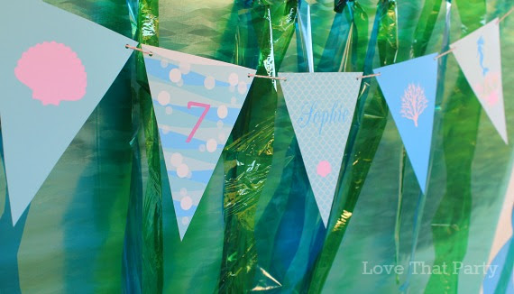 image of personalised bunting at mermaid birthdya party