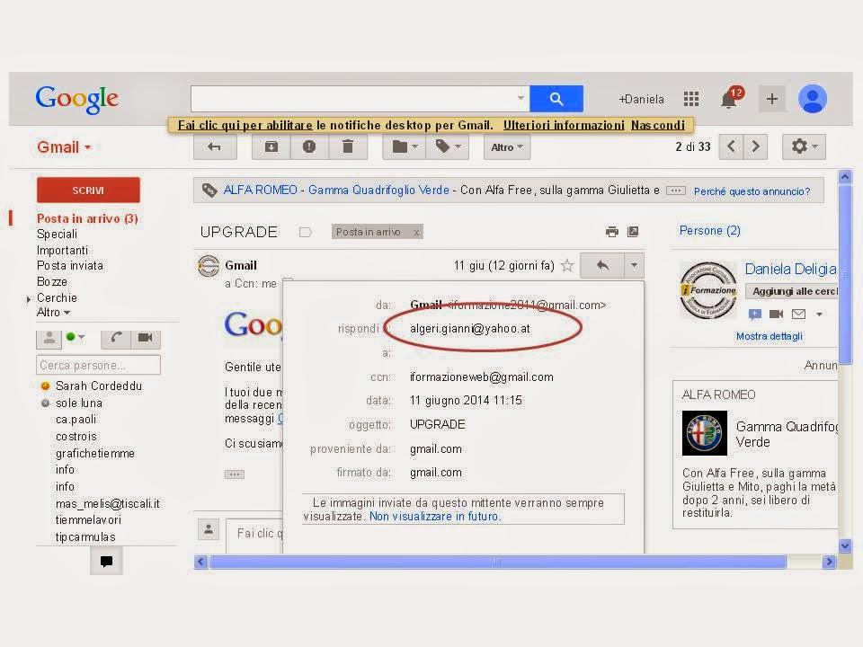 Come puoi notare in questa immagine c'è l'indirizzo reale del ladro algeri.gianni@yahoo.at cerchiato in rosso