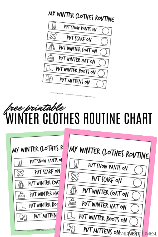 Free printable winter visual routine chart for kids