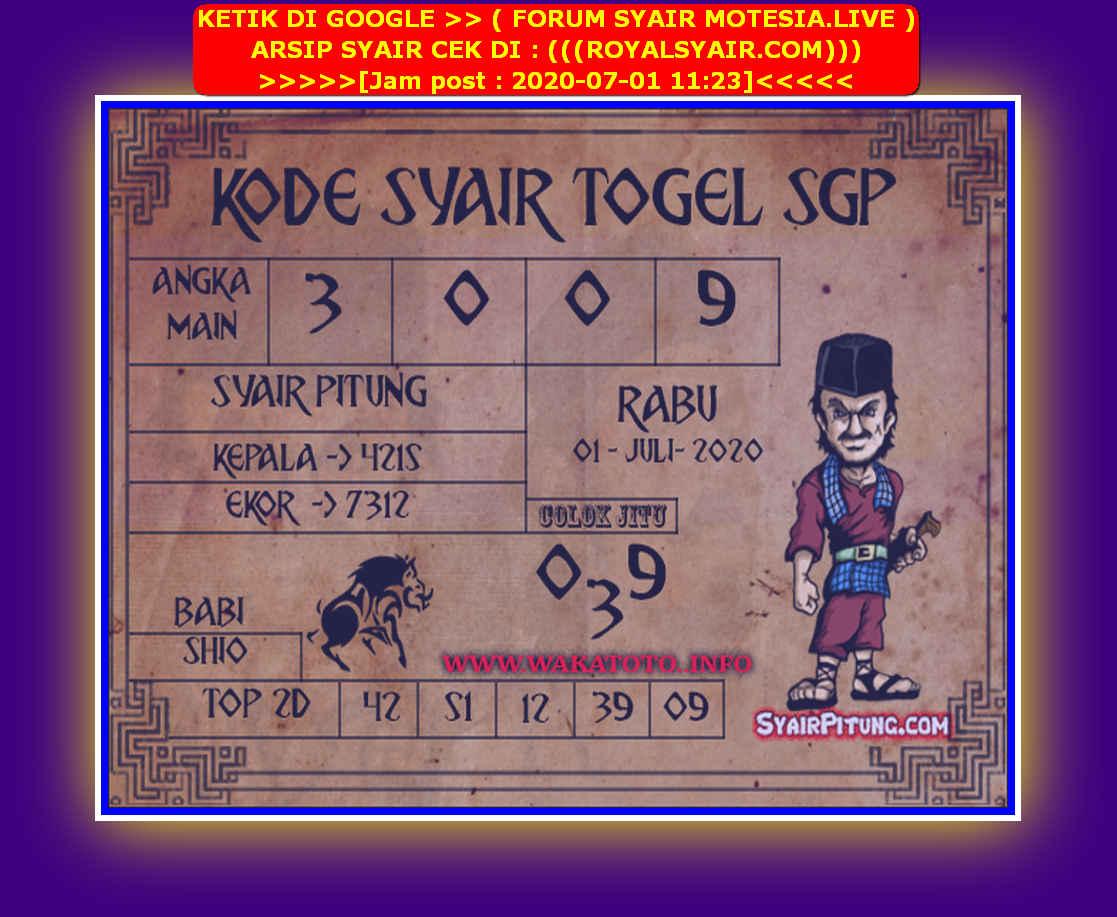 Kode syair Singapore Rabu 1 Juli 2020 76