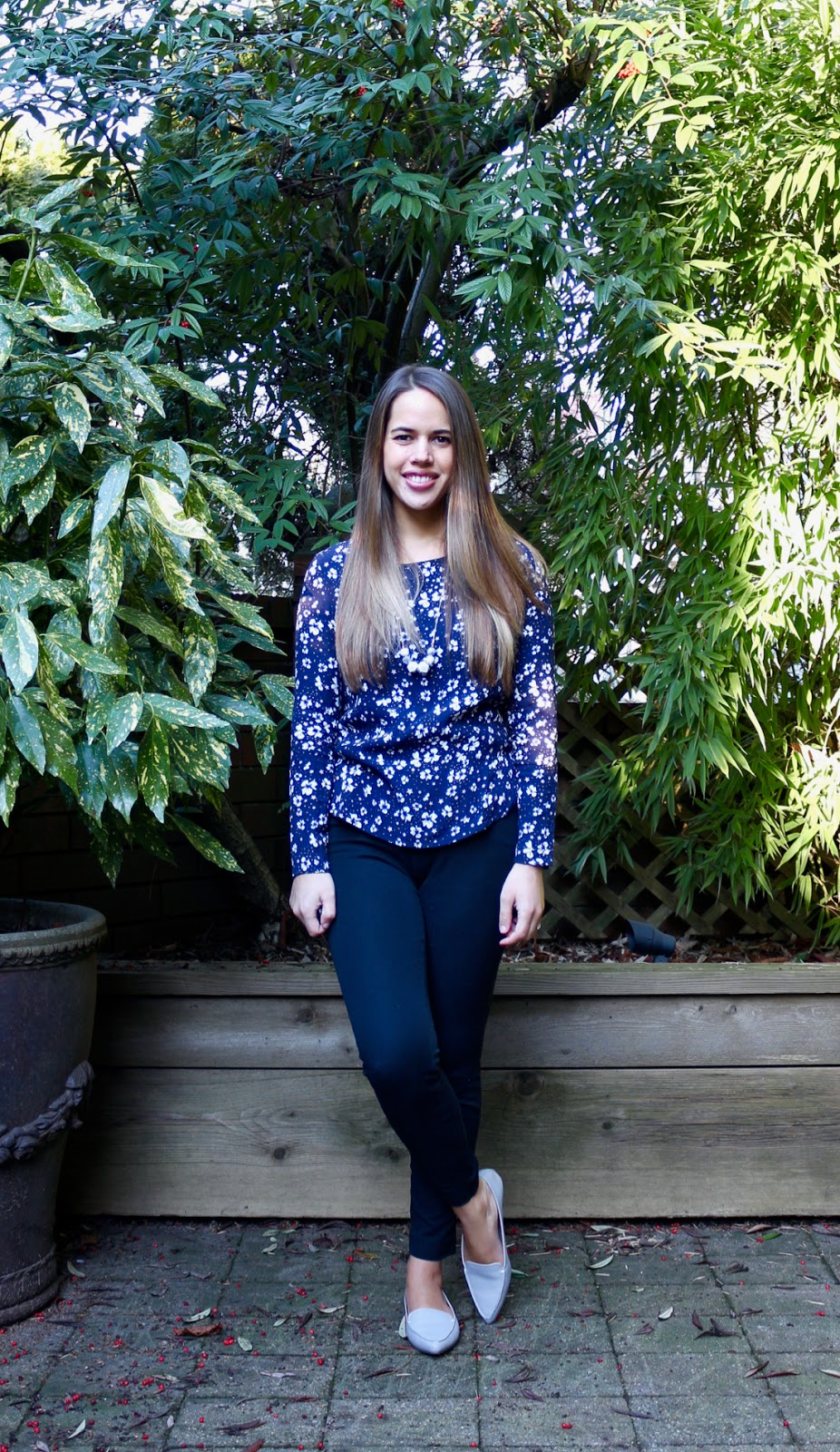 Jules in Flats - Long Sleeve Floral Blouse (Business Casual Winter Workwear on a Budget)
