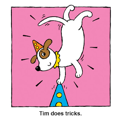 illustration from children's book of clown's dog doing a trick