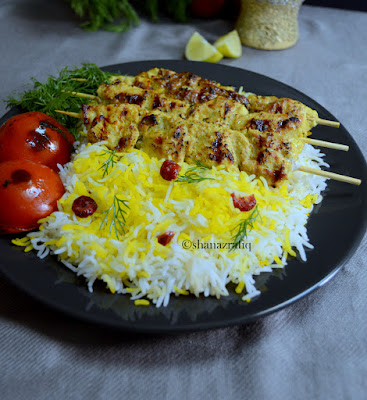 Joojeh Kabab with Saffron Rice