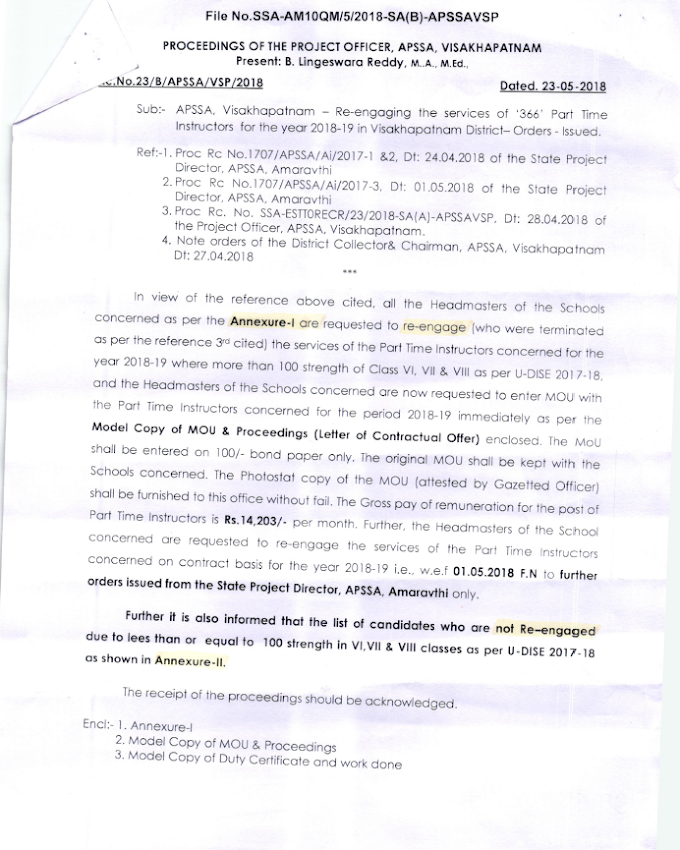Visakhapatnam District - Re-engaging Orders and Re-engaged, Not Re-engaged List of the Candidates 2018-19