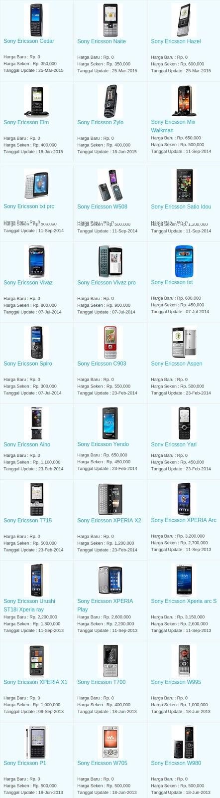Daftar Harga Hp Terbaru Sony Ericsson Juni 2016