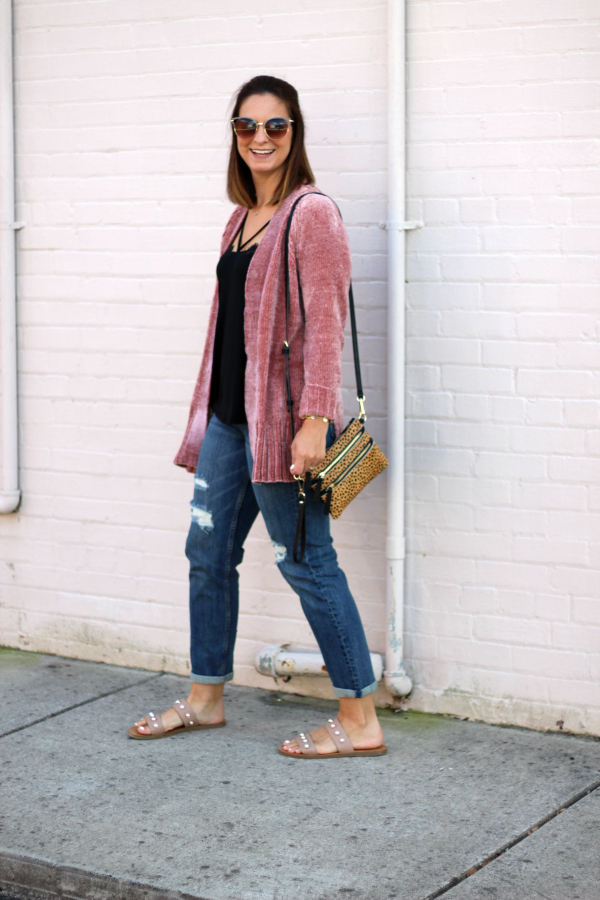 blush pink chenille cardigan, the best boyfriend jeans, style on a budget, north carolina blogger