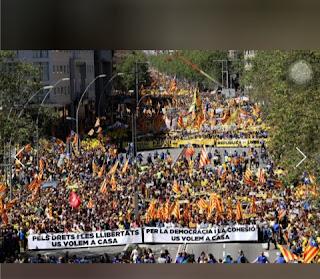 Demonstrators flood Barcelona in support of jailed separatist leaders