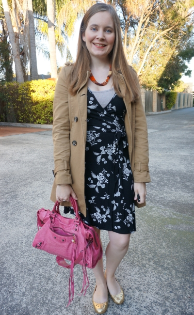 spring office outfit little black floral print wrap dress Balenciaga sorbet pink city bag trench coat | awayFromBlue
