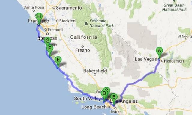 Mapa de uma viagem de carro de Las Vegas à San Francisco