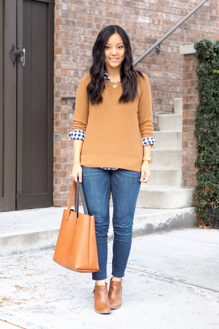 Navy Gingham Fall Outfit
