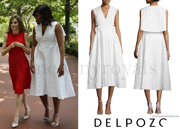 Michelle Obama wore Delpozo Diamond-pattern Capelet Midi Dress