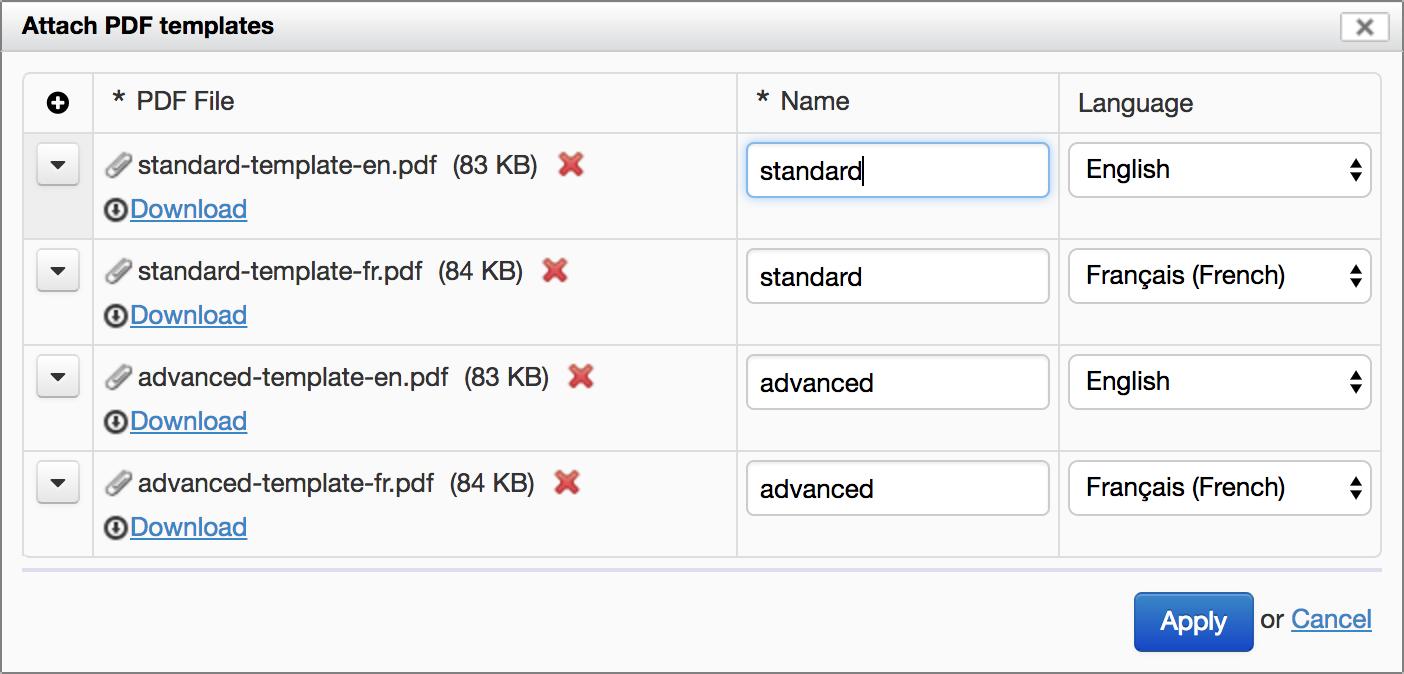 Attach PDF Templates Dialog