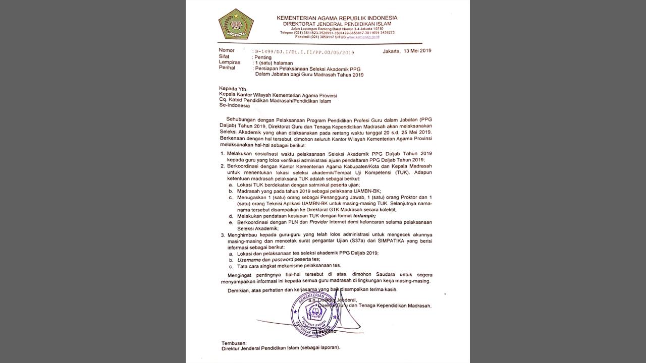 Jadwal Seleksi Akademik PPG Madrasah