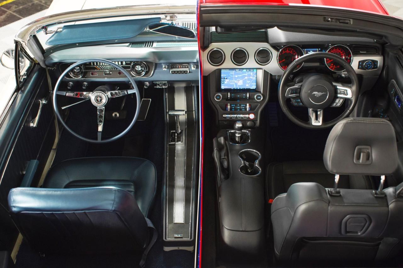Mustang ngày trước với vô lăng mỏng manh, khoang lái đơn giản