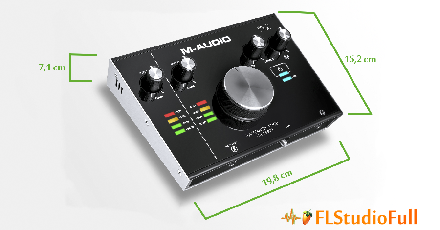 Medidas da interface de áudio M-Audio M-Track 2x2