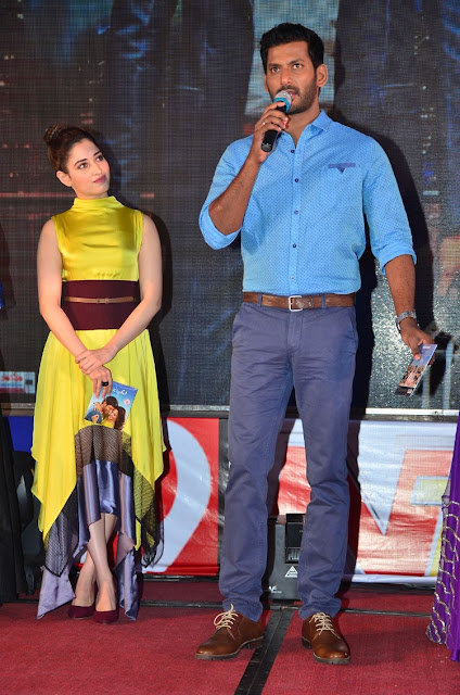 Actress Tamanna at Okkadochadu Telugu Movie Audio Launch