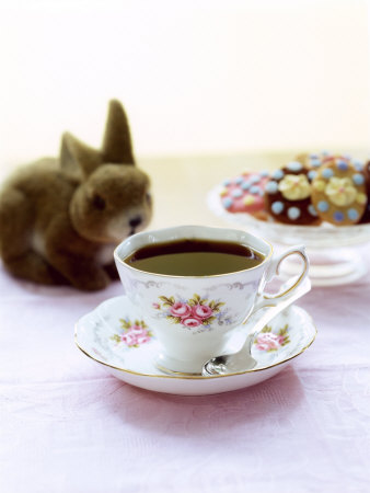 Cup of Coffee, Easter Biscuits and Plush Bunny