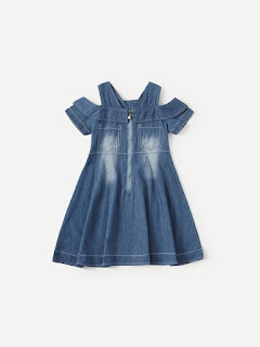 Toddler Girls Open Shoulder Ruffle Denim Dress