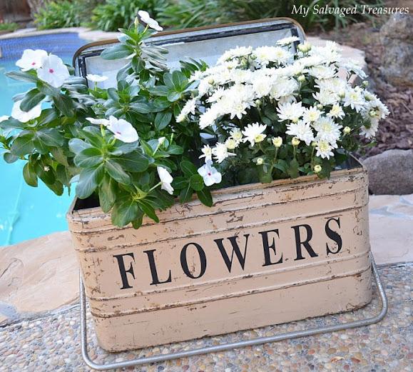 use a vintage cooler as a garden planter