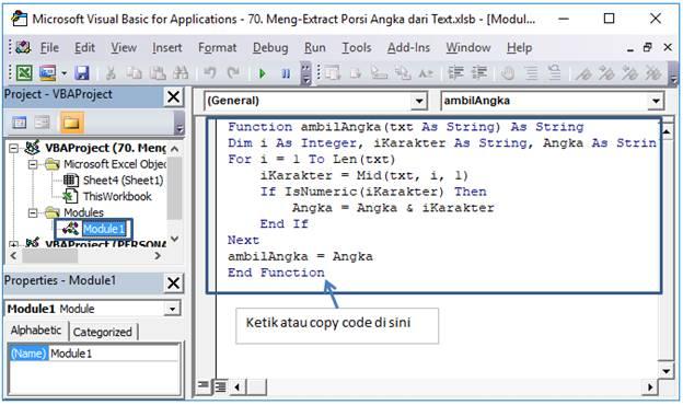 cara copy code di modul vba