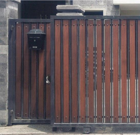 Model Desain Pintu Pagar Rumah Minimalis Terbaru Kayu Lalod