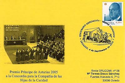 Tarjeta del matasellos en Vegadeo Centenario del Asilo de Ancianos y del 75 aniversario las Hijas de la Caridad