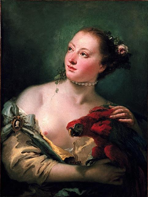 Giambattista Tiepolo - Giovane donna con pappagallo