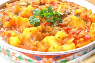 Cooked Moroccan potato, pepper and tomato salad