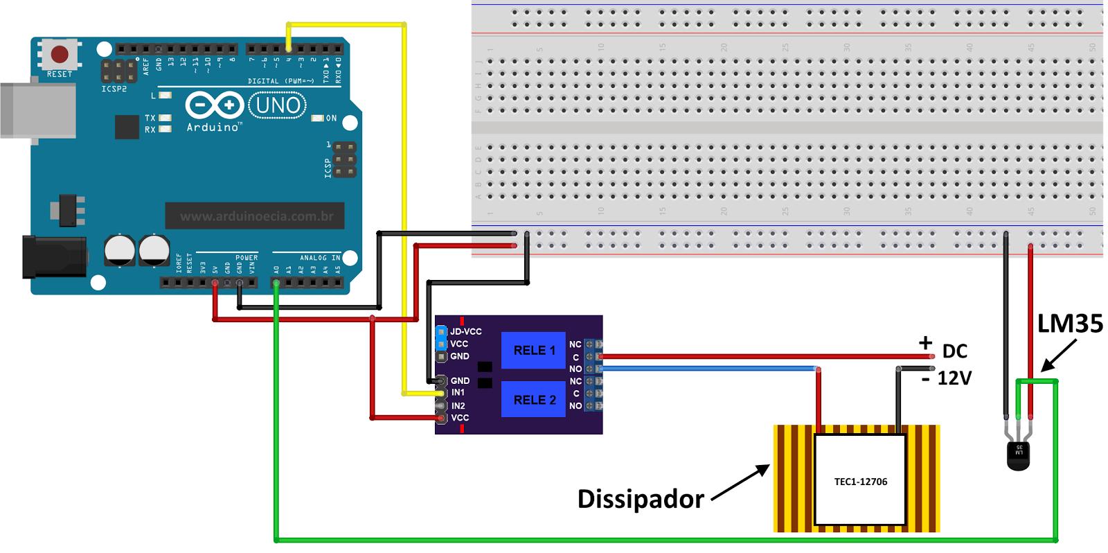 Cooler Com Arduino E Pastilha Termoel 233 Trica Tec1 12706