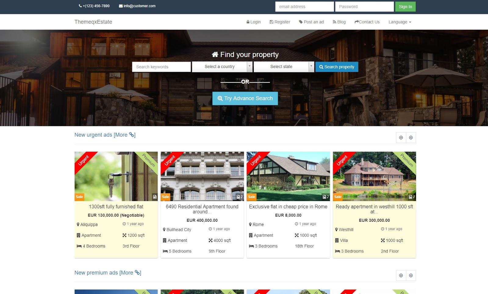 Share Source Code Website Bất Động Sản Đẹp ThemeqxEstate