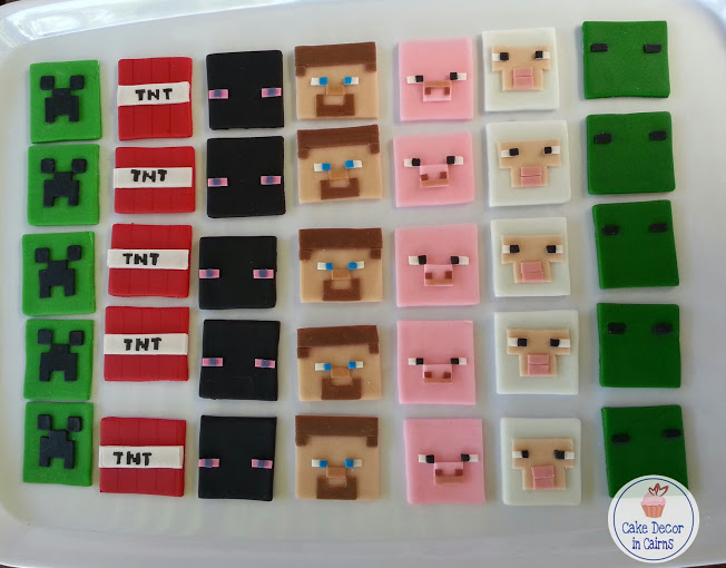 Minecraft / Mine Craft Fondant / gumpaste Cupcake Toppers