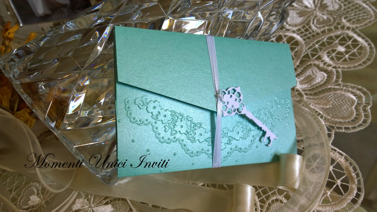 110 Partecipazione pocket tiffany con bordatura in pizzo per G&LColore Tiffany Partecipazioni Pocket
