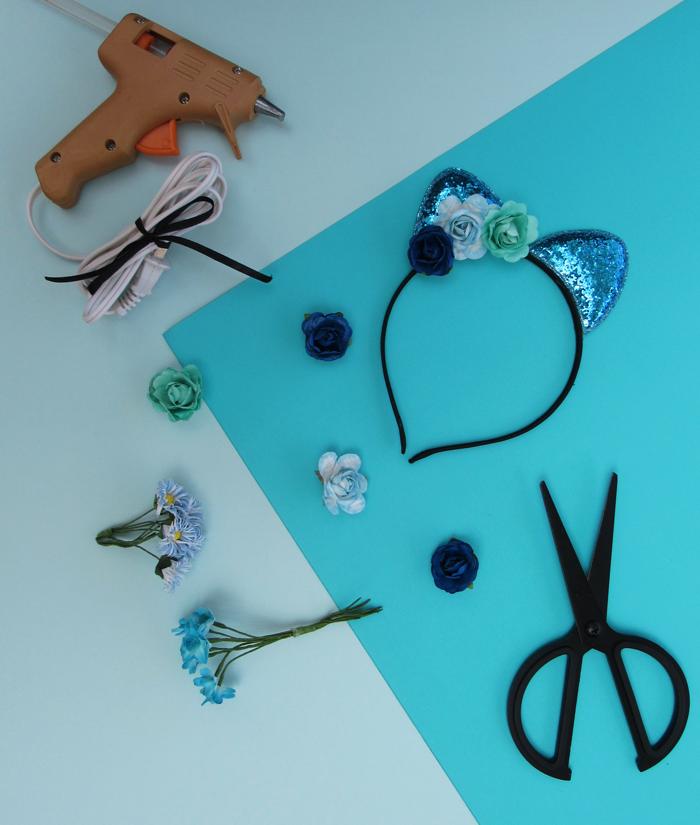 Valentina Vaguada: cat ears, glitter cat ears, birthday party, kitty birthday party, valetosdiy, crafts, DIY, blue