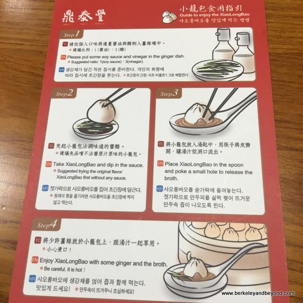 how to eat Shanghai Dumplings card at Din Tai Fung dim sum parlor in Taipei, Taiwan