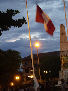 Peruvian Flag lowering ceremony