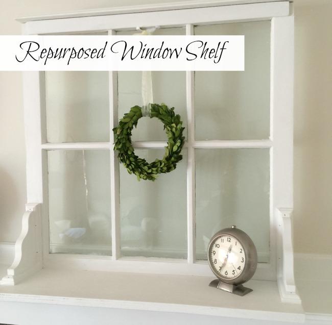 Repurposed Window Shelf with overlay