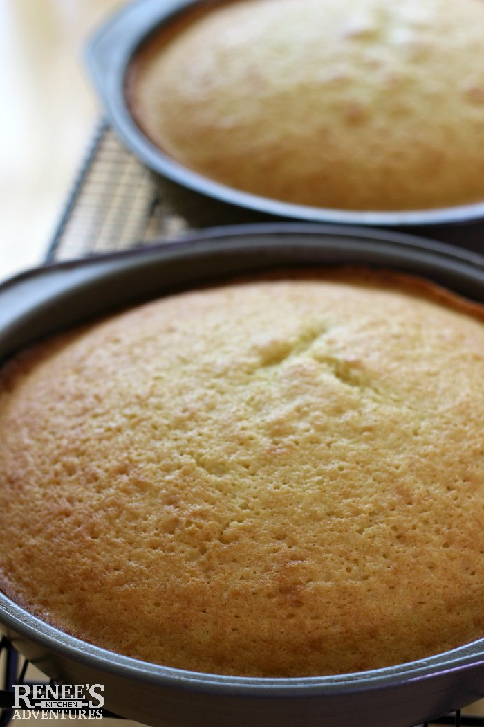 White Chocolate Cake by Renee's Kitchen Adventures cakes from the oven in the baking pans and on cooling rack