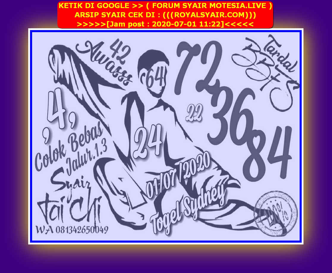 Kode syair Sydney Rabu 1 Juli 2020 15