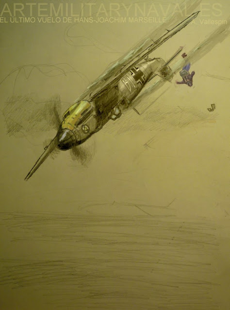 Pintura del último vuelo de Hans Marseille piloto de la Luftwaffe