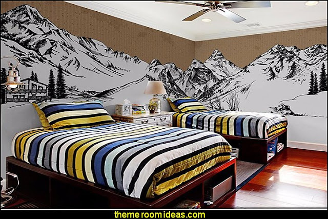 snow mountain wall painting wallpaper mural log cabin - rustic style decorating - Cabin decor - bear decor - camping in the northwoods style  - Antler decor - log cabin boys theme bedroom - Cabin Bedding - Rustic Bedding - rustic furniture - cedar beds - log beds - LOG CABIN DECORATING IDEAS - Swiss chalet ski lodge murals - camping room decor - hunting and fishing theme decorating