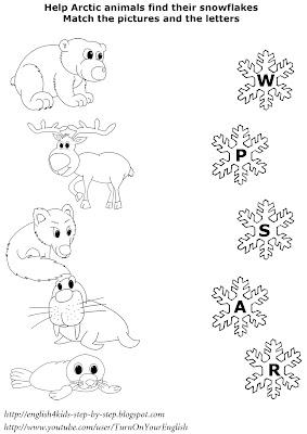 north animals matching worksheet