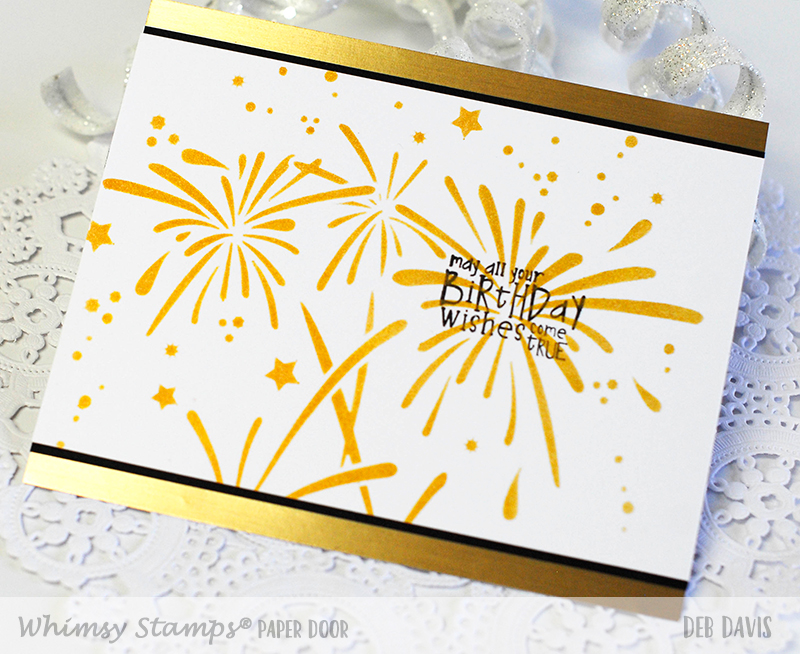 Quick and easy paper door birthday cards stinkerbell kit all the supplies to make this card are included in this months paper door kit the exclusive fireworks stencil the stinkerbell sentiment the beautiful bookmarktalkfo Choice Image