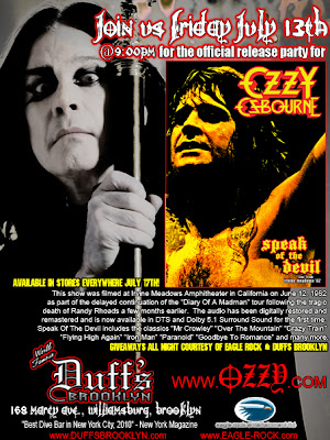 horns up rocks ozzy osbourne friday the 13th dvd release party to take place tonight at duff 39 s. Black Bedroom Furniture Sets. Home Design Ideas